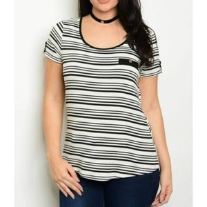 Tops - (Last 1, 2x)  Striped Tee + Stretch with Button
